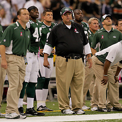 2009 October 04: New York Jets head coach Rex Ryan (center) on the sideline during a 24-10 win by the New Orleans Saints over the New York Jets at the Louisiana Superdome in New Orleans, Louisiana.