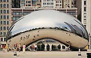 "Side view of ""Cloud Gate"" stainless steel sculpture by Anish Kapoor at Millenium Park, Chicago, Illinois"