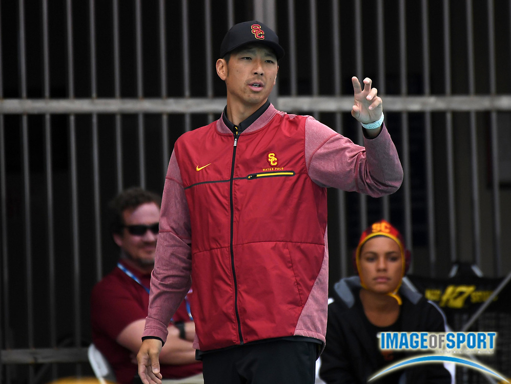 Southern California Trojans associate head coach Csey Moon reacts against the Wagner Seahawks during an NCAA college women's water polo quarterfinal game in Los Angeles, Friday, May 11, 2018. USC defeated Wagner 12-5.  (Kirby Lee via AP)