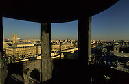 France. Paris. Elevated view  on the Conciergerie and Paris cityscape. Seine river, city hall, Chatelet theater, Saint Jacques Tower . view from the Conciergerie Bell tower  Paris  France