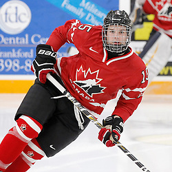 TRENTON, - Dec 10, 2015 -  Exhibition Game 3-  Russia vs Team Canada West at the 2015 World Junior A Challenge at the Duncan Memorial Gardens, ON. Blake Hayward #15 of Team Canada West during the pre-game warmup (Photo: Amy Deroche / OJHL Images)