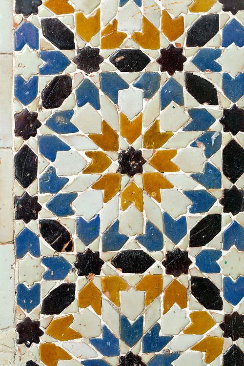 TETOUAN, MOROCCO - 6th April 2016 - Moroccan doorway zelij mosaic tiling, Tetouan Medina, Rif region of Northern Morocco.