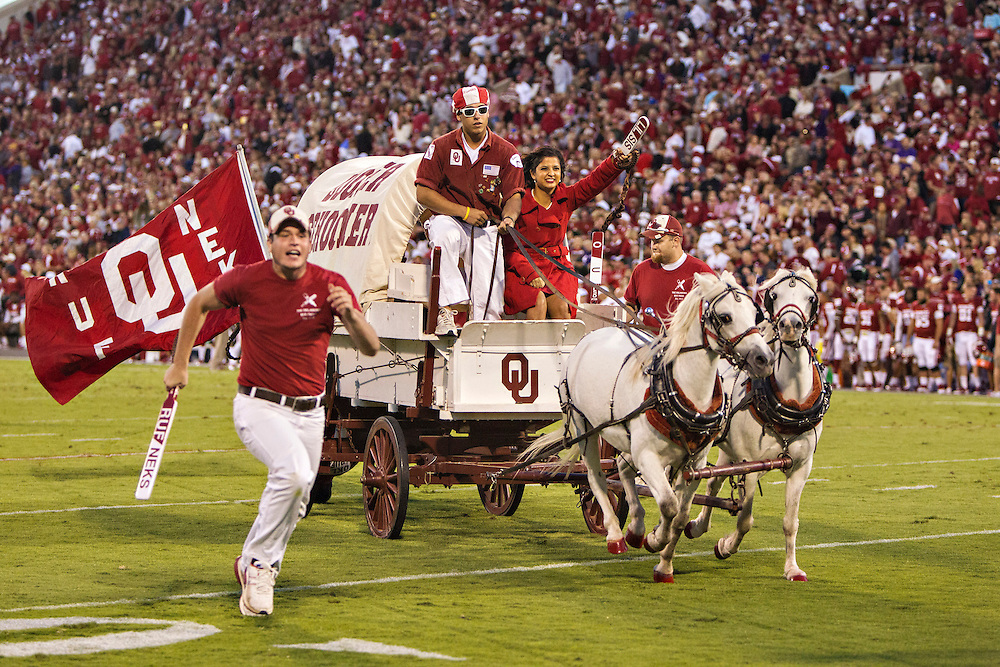 NORMAN, OK - OCTOBER 5:  Boomer Sooner of the Oklahoma Sooners rides around the field after a touchdown during a game against the TCU Horned Frogs at Gaylord Family Oklahoma Memorial Stadium on October 5, 2013 in Norman, Oklahoma.  The Sooners defeated the Horned Frogs 20-17.  (Photo by Wesley Hitt/Getty Images) *** Local Caption ***