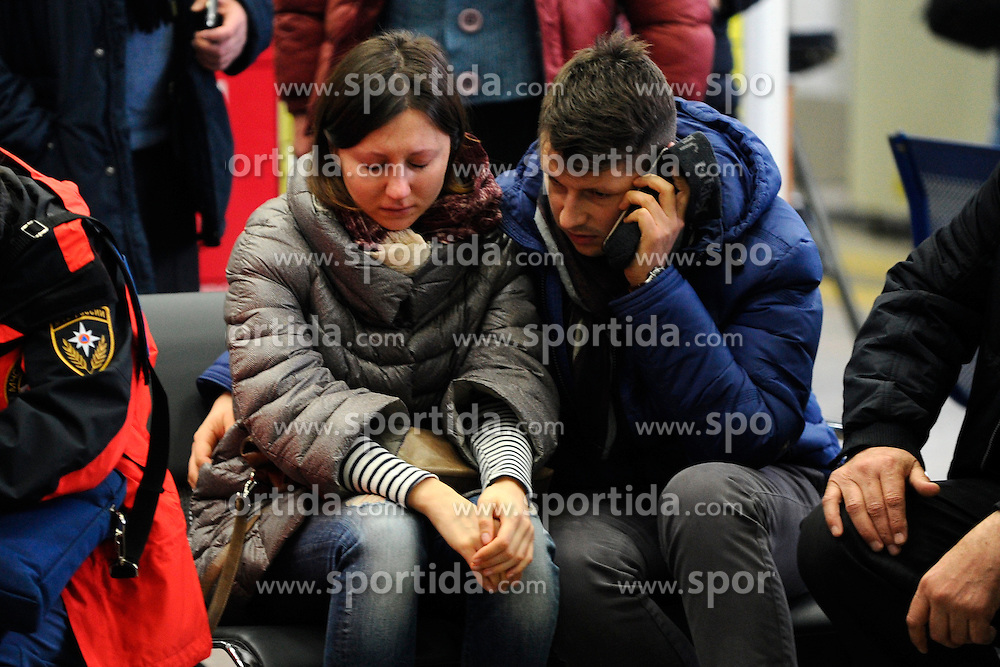 Relatives of victims of the crashed plane wait at the Rostov-on-Don airport, in Russia, March 19, 2016. A Boeing 737-800 passenger plane from Dubai crashed at the destination airport in southwestern Russia early Saturday, killing all the 62 people on board, authorities said. EXPA Pictures &copy; 2016, PhotoCredit: EXPA/ Photoshot/ Sputnik<br /> <br /> *****ATTENTION - for AUT, SLO, CRO, SRB, BIH, MAZ, SUI only*****