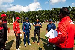September 22, 2018 - Morrisville, North Carolina, US - Sept. 22, 2018 - Morrisville N.C., USA - ZUBIN SURKARI, with the ICC-America's Development Office, briefs players and officials before the ICC World T20 America's ''A'' Qualifier cricket match between USA and Canada. Both teams played to a 140/8 tie with Canada winning the Super Over for the overall win. In addition to USA and Canada, the ICC World T20 America's ''A'' Qualifier also features Belize and Panama in the six-day tournament that ends Sept. 26. (Credit Image: © Timothy L. Hale/ZUMA Wire)