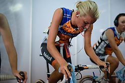 Moniek Tenniglo warms up with her Rabo liv teammates at the 40 km Women's Team Time Trial, UCI Road World Championships 2016 on 9th October 2016 in Doha, Qatar. (Photo by Sean Robinson/Velofocus).