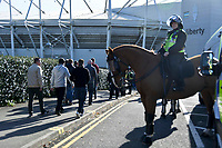Football - 2019 / 2020 Sky Bet (EFL) Championship - Swansea City vs. Reading<br /> <br /> Mounted police welcome cardiff fans  at the Liberty Stadium.<br /> <br /> COLORSPORT/WINSTON BYNORTH