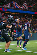 Layvin Kurzawa (psg) celebrated it goal scored behind broadcasting TV and gave a kiss from a decisive ball kicked by Neymar da Silva Santos Junior - Neymar Jr (PSG), celebration during the French championship L1 football match between Paris Saint-Germain (PSG) and Toulouse Football Club, on August 20, 2017, at Parc des Princes, in Paris, France - Photo Stephane Allaman / ProSportsImages / DPPI