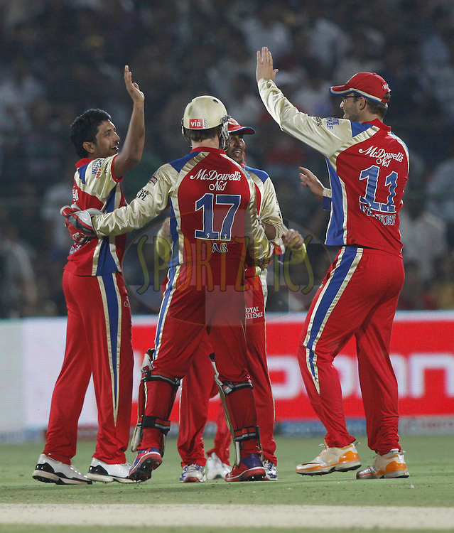 Royal Challengers Bangalore player KP Appanna celebrates the wicket of Rajasthan Royals captain Rahul Dravid during match 30 of the the Indian Premier League ( IPL) 2012  between The Rajasthan Royals and the Royal Challengers Bangalore held at the Sawai Mansingh Stadium in Jaipur on the 23rd April 2012..Photo by Pankaj Nangia/IPL/SPORTZPICS