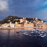 Extreme wide panorama of Sestri Levante's Baia del Silenzio (Bay of Silence)