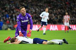 9 December 2017 -  Premier League - Tottenham Hotspur v Stoke City - Jack Butland of Stoke City reacts after Harry Kane of Tottenham Hotspur fails to score having dispossessed him of the ball - Photo: Marc Atkins/Offside
