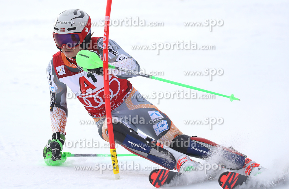 26.01.2020, Streif, Kitzbühel, AUT, FIS Weltcup Ski Alpin, Slalom, Herren, 1. Lauf, im Bild Henrik Kristoffersen (NOR) // Henrik Kristoffersen (NOR) in action during his 1st run in the men's Slalom of FIS Ski Alpine World Cup at the Streif in Kitzbühel, Austria on 2020/01/26. EXPA Pictures © 2020, PhotoCredit: EXPA/ SM<br /> <br /> *****ATTENTION - OUT of GER*****