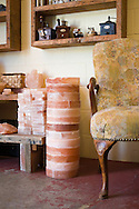 The Meadow, a salt, chocolate, wine and flower shop in the North Mississippi neighborhood of Portland, OR.  A stack of Himalayan Pink Salt Blocks for cooking.