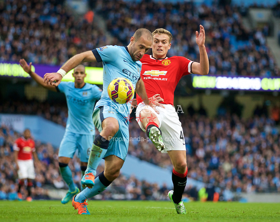 MANCHESTER, ENGLAND - Sunday, November 2, 2014: Manchester City's Pablo Zabaleta in action against Manchester United's James Wilson during the Premier League match at the City of Manchester Stadium. (Pic by David Rawcliffe/Propaganda)