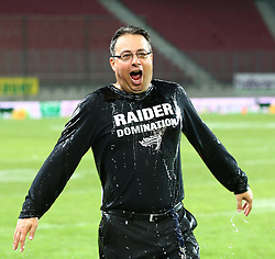 23.07.2016, Woertersee Stadion, Klagenfurt, AUT, AFL, Austrian Bowl XXXII, Swarco Raiders Tirol vs Projekt Spielberg Graz Giants, im Bild Shuan Fatah (Swarco Raiders Tirol, Head Coach) nach dem Gatorade Shower // during the Austrian Football League Austrian Bowl XXXII game between Swarco Raiders Tirol vs Swarco Raiders Tyrol at the Woertersee Stadion, Klagenfurt, Austria on 2016/07/23. EXPA Pictures © 2016, PhotoCredit: EXPA/ Thomas Haumer