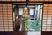 garden at the Koshi-no-Ie Residence or Naramachi Lattic House in Nara Japan