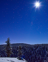 A full moon and stars shine brightly over McIntyre Creek, Yukon