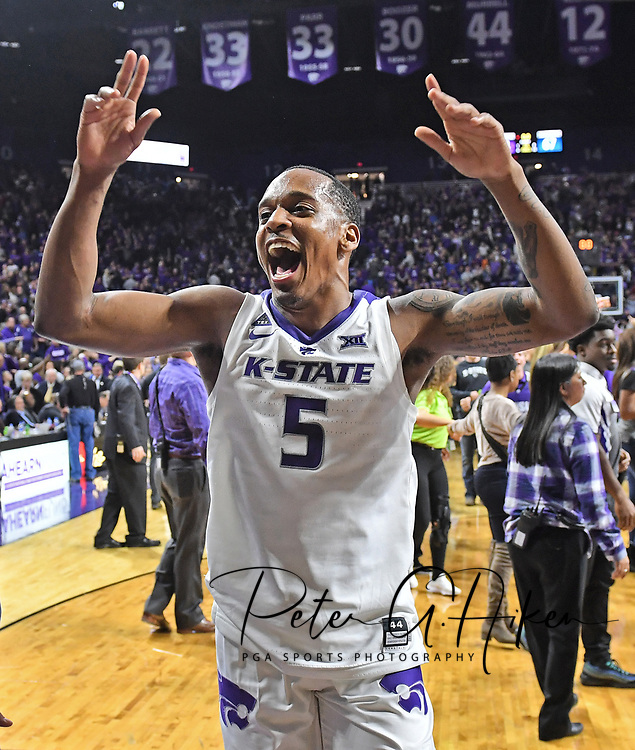 MANHATTAN, KS - FEBRUARY 05:  Barry Brown Jr. #5 of the Kansas State Wildcats celebrates after defeating the Kansas Jayhawks on February 5, 2019 at Bramlage Coliseum in Manhattan, Kansas.  (Photo by Peter G. Aiken/Getty Images) *** Local Caption ***  Barry Brown Jr.