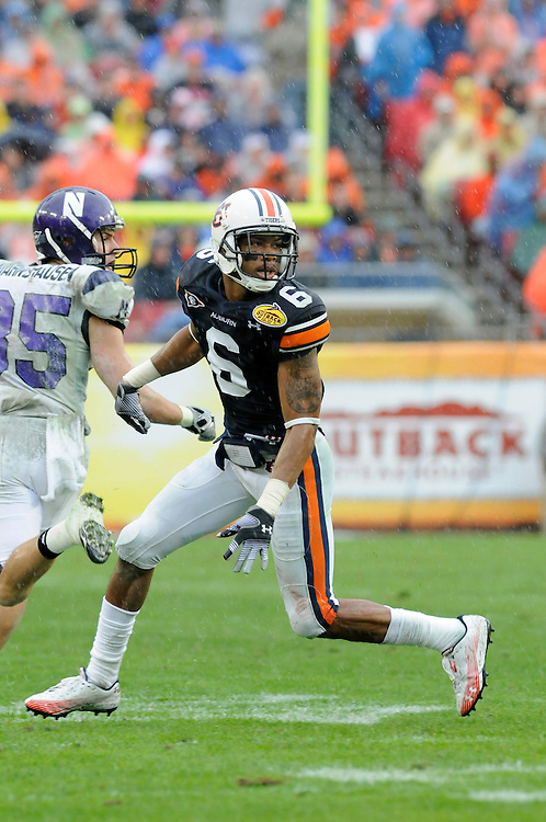 January 1, 2010: Walter McFadden of the Auburn Tigers in action during the NCAA football game between the Northwestern Wildcats and the Auburn Tigers in the Outback Bowl. The Tigers defeated the Wildcats 38-35 in overtime.