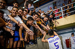 Nikolaidis  Alexandros of Greece celebrates with fans after the basketball match between National teams of Greece and Slovenia in the Group Phase C of FIBA U18 European Championship 2019, on July 29, 2019 in  Nea Ionia Hall, Volos, Greece. Photo by Vid Ponikvar / Sportida