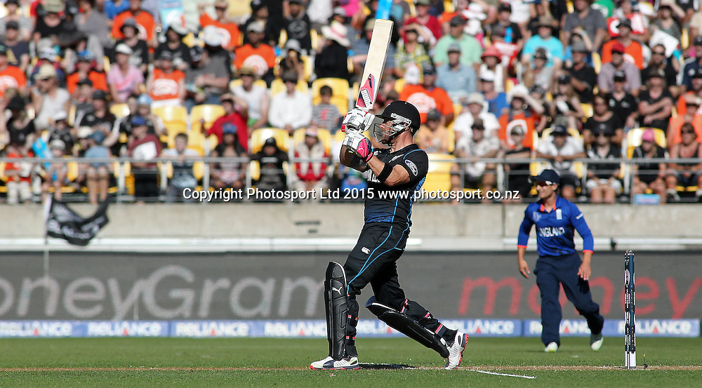 Brendon McCullum batting to score a quick fire 77 runs during the ICC Cricket World Cup match between New Zealand and England at Wellington Regional Stadium, New Zealand. Friday 20th February 2015. Photo.: Grant Down / www.photosport.co.nz