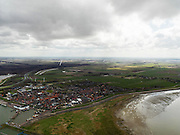 Nederland, Noord-Holland, Gemeente Wieringermeer, 16-04-2012. Wieringermeer, zicht Den Oever met de visafslag en het eiland Wieringen..Wieringermeer with Den Oever harbour and the fish market on the island Wieringen..luchtfoto (toeslag), aerial photo (additional fee required);.copyright foto/photo Siebe Swart