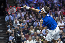 September 22, 2018 - Chicago, Illinois, U.S - Team Europe member ROGER FEDERER of Switzerland serves during the second singles match between Team Europe and Team World on Day Two of the Laver Cup at the United Center in Chicago, Illinois. (Credit Image: © Shelley Lipton/ZUMA Wire)