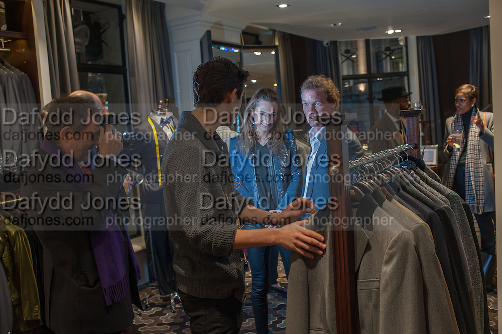 NICHOLAS HISSON; ; MIRIAM ARMSTRONG;  ROBERT HISSON; , Opening of new Hackett flagship store. Regent St. London. 28 November 2013.