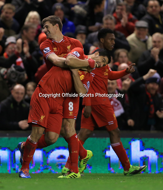 26th March 2014 - Barclays Premier League - Liverpool v Sunderland - Steven Gerrard of Liverpool celebrates with temmate Luis Suarez after scoring their 1st goal - Photo: Simon Stacpoole / Offside.