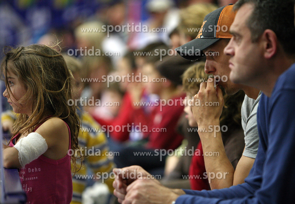 Boris Gorenc (left his daughter) and Slavko Kotnik at 7th round of Slovenian basketball Championship at UPC Telemach league between Helios Domzale vs Union Olimpija, on April 16, 2008, in Sports Arena in Domzale. Olimpija won the match 93:76. (Photo by Vid Ponikvar / Sportal Images)