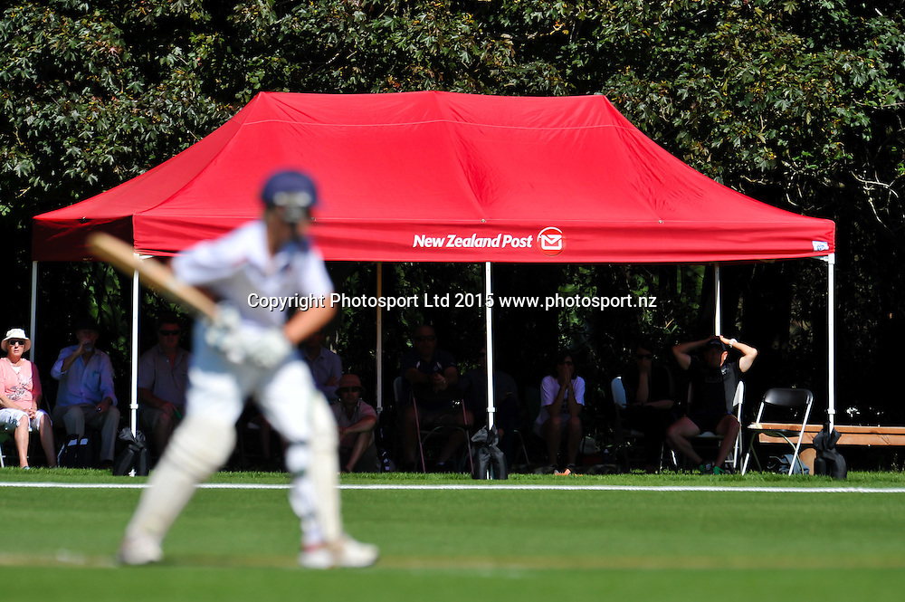 NZ Post supporters  boxes during the New Zeland Post Cup Finals Cricket matches at Lincoln, Christchurch. 25th November 2015. Copyright Photo: John Davidson / www.photosport.nz