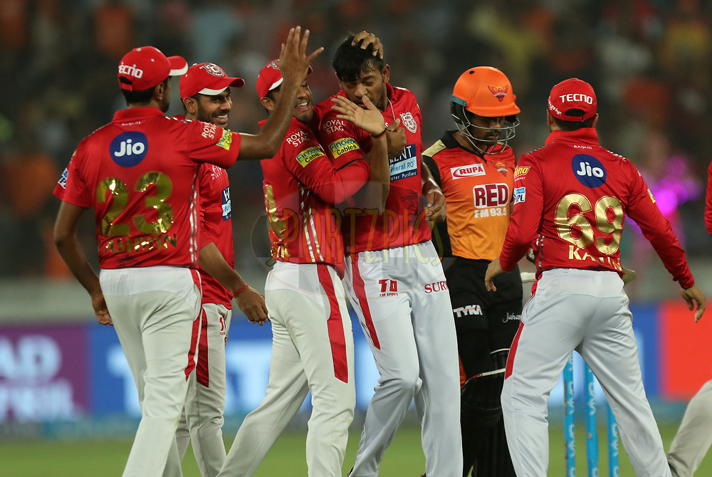 Ankit Rajpoot of Kings XI Punjab celebrates wicket of Wriddhaman Saha of Sunrisers Hyderabad  during match twenty five of the Vivo Indian Premier League 2018 (IPL 2018) between the Sunrisers Hyderabad and the Kings XI Punjab  held at the Rajiv Gandhi International Cricket Stadium in Hyderabad on the 26th April 2018.<br /> <br /> Photo by: Prashant Bhoot /SPORTZPICS for BCCI