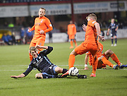 Jim McAlister tumbles for for the penalty which won the game after being brought down by Kilmarnock captain Manuel Pascali (grounded right) -  Dundee v Kilmarnock, SPFL Premiership at Dens Park <br /> <br /> <br />  - &copy; David Young - www.davidyoungphoto.co.uk - email: davidyoungphoto@gmail.com
