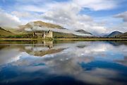 Peaceful reflections of Kilchurn castle, Loch Awe, Argyll