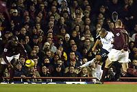 Photo: Chris Ratcliffe.<br />Arsenal v West Ham. Barclays Premiership. 01/02/2006.<br />Bobby Zamora (C) scores West Ham's second.