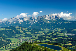 THEMENBILD - Der Blick auf den Seidlalmsee und den Wilden Kaiser, aufgenommen am 26. Juni 2017, Kitzbühel, Österreich // The view of the Seidlalmsee and the Wilder Kaiser at the Streif, Kitzbühel, Austria on 2017/06/26. EXPA Pictures © 2017, PhotoCredit: EXPA/ Stefan Adelsberger