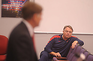 """Ole Miss football coach Houston Nutt listens as athletic director Pete Boone speaks about the football program during a press conference in Oxford, Miss. on Monday, Sept. 19, 2011. Ole Miss has started the season 1-2, including a 30-7 loss to Vanderbilt on Saturday, Sept. 17, 2011 that Boone termed """"unacceptable."""""""