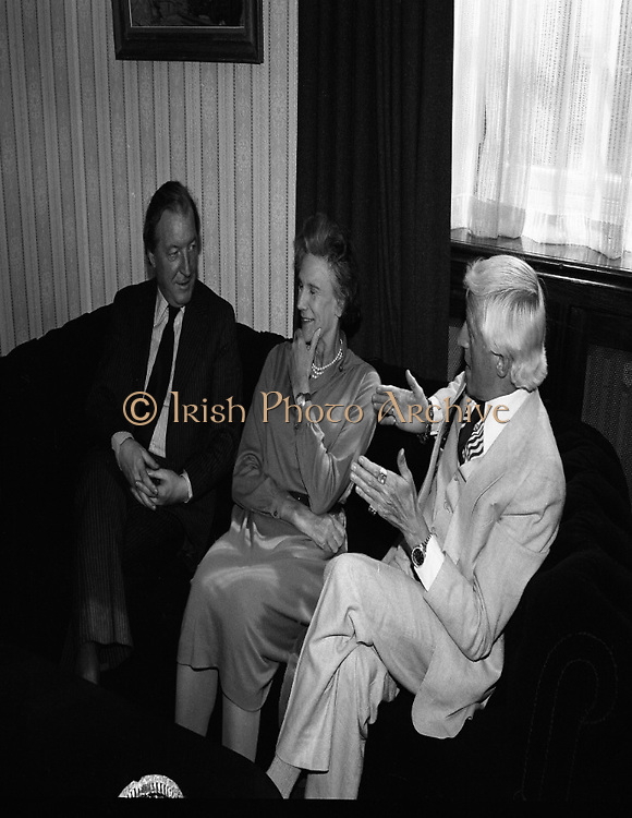 Jimmy Saville guest of An Taoiseach...Photographed at an Taoiseach's Office, Government Buildings...1980-05-26.26th May 1980.26-05-80.05-26-80..From left:..An Taoiseach Charles Haughey TD..Lady Valerie Goulding of the Central Remedial Clinic..Jimmy Saville.<br />