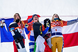 PYEONGCHANG, SOUTH KOREA - FEBRUARY 16:  Julia Pereira de Sousa Mabileau of France, Michela Moioli of Italy and  Eva Samkova of Czech Republic stand on the podium after the Big Final of the Women's Snowboard Cross at Phoenix Snow Park on February 16, 2018 in Pyeongchang-gun, South Korea.  Photo by Ronald Hoogendoorn / Sportida