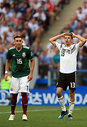 MOSCOW, RUSSIA - JUNE 17:  Thomas Mueller of Germany and Hector HERRERA of Mexico,  in action during the 2018 FIFA World Cup Russia group F match between Germany and Mexico at Luzhniki Stadium on June 17, 2018 in Moscow, Russia. , <br /> Football World Cup Russia 2018 - Germany vs Mexico 0:1, <br /> Football World Cup match in MOSCOW on June 17th 2018, Fussball-WM in Moskau, Deutschland - Mexiko, <br /> Honorarpflichtiges Foto, Fee liable image, Copyright &copy; ATP Amin JAMALI