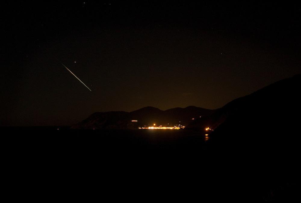 Shooting star above Monterosso al Mare, Cinque Terre, Italy
