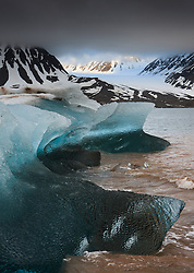 Glacier ice in Kongsfjorden, Spitsbergen, Svalbard