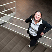 August 20, 2012 - Purchase, NY : Paola Morsiani, the recently appointed director of the Neuberger Museum of Art at SUNY Purchase, poses for a portrait on the museum's cascading Philip Johnson-designed staircase. CREDIT: Karsten Moran for The New York Times