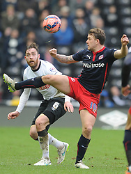 Reading Simon Cox, and Derby Richard Keogh, Derby County v Reading, FA Cup 5th Round, The Ipro Stadium, Saturday 14th Febuary 2015