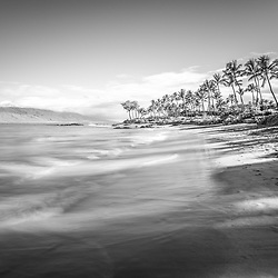 Maui Hawaii Mōkapu Beach black and white photo in Wailea Makena with Maalaea Bay Pacific Ocean. Copyright ⓒ 2019 Paul Velgos with All Rights Reserved.