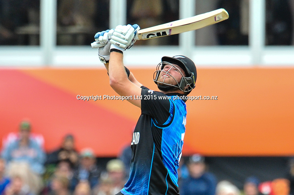Corey Anderson of the Black Caps batting during the ICC Cricket World Cup match between New Zealand and Sri Lanka at Hagley Oval in Christchurch, New Zealand. Saturday 14 February 2015. Copyright Photo: John Davidson / www.Photosport.co.nz