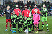 Mascot and captains during the EFL Sky Bet League 2 match between Forest Green Rovers and Exeter City at the New Lawn, Forest Green, United Kingdom on 1 January 2020.
