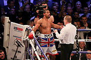 David Haye is spoken too after being knocked to the floor at the O2 Arena, London, United Kingdom on 5 May 2018. Picture by Phil Duncan.