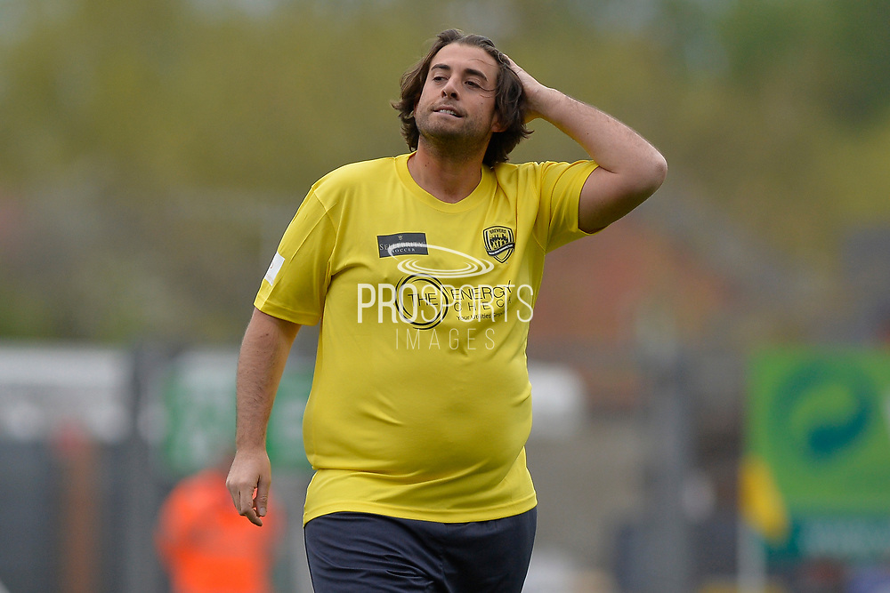 James Argent during the Sellebrity Soccer match between Katie Price XI and Kerry Katona XI at the Pirelli Stadium, Burton upon Trent, England on 29 April 2018. Picture by Richard Holmes.