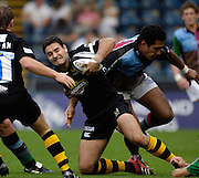 Wycombe, GREAT BRITAIN, Jeremy STAUNTON, is caugh with the ball, during the Guinness Premiership match, London Wasps vs NEC Harlequins, at Adams Park,  Wycombe, ENGLAND, 17/09/2006. [Photo, Peter Spurrier/Intersport-images].